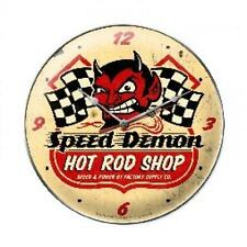 Hot Rod Speed Demon Vintage Metal Clock Man Cave Garage Body Shop Club fsc003