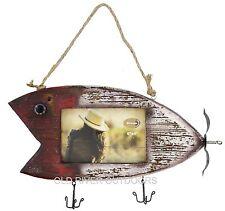 "Rustic Fishing Lure Barnwood Picture Frame 4"" x 6"" Photo - Fishing Bass Cabin"