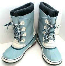 L.L. Bean ~ Women's Sky Blue Winter Snow Boots Suede Rubber Insulated ~ Size 9M