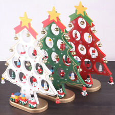 More details for 27cm wooden diy tabletop christmas tree decoration mini desk xmas tree ornaments