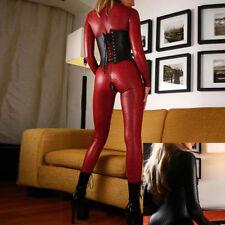 Sexy Women PU Leather Wet Look Bodysuit Catsuit Jumpsuit Club PLUS SIZE S L Red