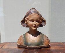 statue FEMME A LA COIFFE  PAR  A . BOUTROLLE  PARIS  PLATRE PEINT POLYCHROME
