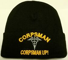 COMBAT MEDIC U.S. NAVY NAVAL USN HOSPITAL CORPSMAN UP WATCH CAP BEANIE KNIT HAT