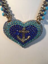$95 Betsey Johnson Anchor Away Statement Necklace BL 3