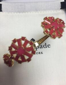 Kate Spade Gold Tone Trellis Blooms Pink Floral Cuff Bracelet w/ KS Dust Bag New