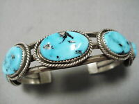 THICKER VINTAGE NAVAJO BLUE TURQUOISE STERLING SILVER BRACELET CUFF OLD