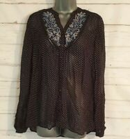 PER UNA Size 10 SHEER Blouse Top NAVY BLUE/WHITE Polka Dot EMBROIDERED Women's