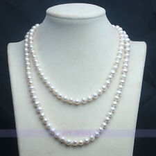 """Long 35"""" 7-8mm Aaa Genuine Freshwater Pearl Necklace"""