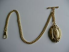 single albert gold  plated  pocket watch chain old vintage locket  fob t bar