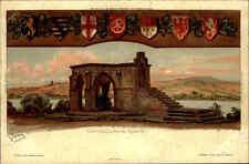 Rhens am Rhein Litho-AK ~1900 Königsstuhl und diverse Wappen alte color AK