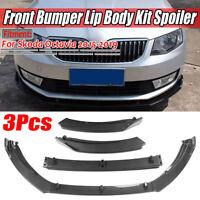 For SKODA Octavia 2015-2019 Carbon Fiber Look Front Bumper Lip Spoiler Splitter