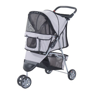 Pet Stroller Outdoor Push Jogger Foldable Small Dog/Puppy Carrier Storage Grey