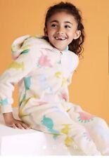 Girls Fleece Dinosaur hooded One piece pink loungewear Pyjamas M&S age 2-3 years