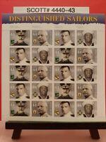 Scott # 4440-43 Distinguished Sailors. Pane of (20) 44 Cent Stamps