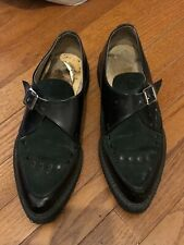 UNDERGROUND SHOES UK TWO TONE CREEPERS BLACK LEATHER GREEN SUEDE US LADIES 9.5