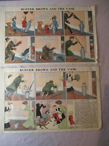 1903 Original Lot 2 R.F. OUTCAULT Prints BUSTER BROWN AND THE VASE Full Story