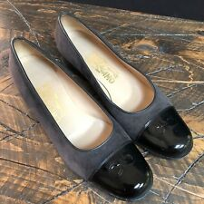 Ferragamo Womens Heels Pumps Shoes Gray Suede Black Patent Leather Size 7.5 2A