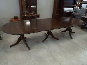 Large Antique 1920's Mahogany Triple Pedestal Dining Table