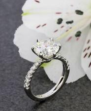 Ring 14k white Gold Over 2Ct Brilliant Forever Moissanite Engagement Wedding