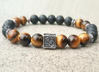8mm Tigereye Volcanic Bracelet Tibet silver Healing Wrist pray Meditation yoga