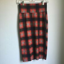 Vintage Joyce Plaid Pencil Skirt Stretch Women's Medium