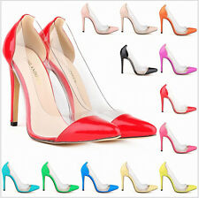 Fashion Pointy Toe High Heels Stiletto Pumps Womens Shoes Pull On Clear Plus Sz