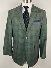 Vtg 60s Towncraft 42R mens green plaid sport coat blazer jacket 2 btn Penneys