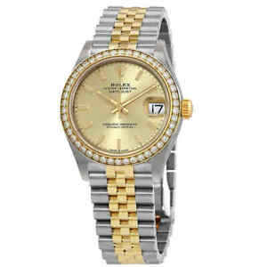 Rolex Datejust 31 Champagne Diamond Dial Ladies Steel and 18kt Yellow Gold