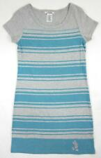 Disney Parks T-Shirt Mickey Mouse Dress Sz. Small Striped Gray Turquoise Blue