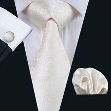 Creme Beige Paisley Seide Krawatte Set Einstecktuch Knöpfe Breit Hochzeit K336
