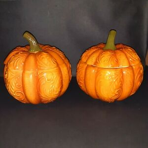Pier 1 Hand Painted Dolomite Covered Pumpkin Bowls Set Of 2