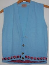 Vintage Womens 50s Orlon Hi Bulk Acrylic Baby Blue Vest Red Black Hem Trim S