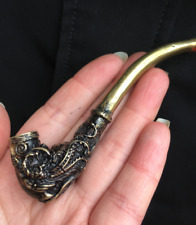China Collectibles old brass Emboss Dragon and Phoenix Tobacco pipe