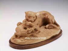 40 cm Chinese Boxwood Masterwork leopard panther crocodile Animal wood sculpture