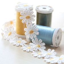 Daisy Lace Trim Sewing Flower Applique Embroidered Headband Craft 1 Yard