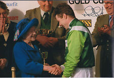 Mick FITZGERALD Jockey SIGNED Autograph Photo AFTAL COA with Queen Mother RARE