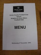03/11/2004 Derby County v Brighton and Hove Albion - Menu, Four Pages. Item in v