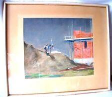 Kreide Pastell Bild * Männer am Bau * signiert Kriesch 1941