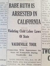 1927 Newspaper Babe Ruth arrested California New York Yankees Baseball  Legend a42873b52460