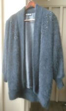 Women's Sweater - LEE SANDS - Angora - Open Front - Beaded - Black - One Size