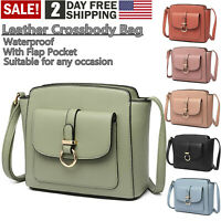Ladies Fashion Handbag Shoulder Women Crossbody Leather Tote with Flap Pocket