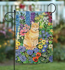Toland Flower Cat 12.5 x 18 Colorful Spring Summer Floral Kitty Garden Flag