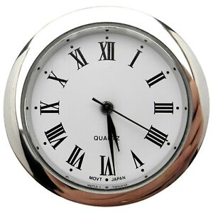 New Quartz Clock Insertion Movement Chrome 36.5mm Diameter Roman Numerals- CM543