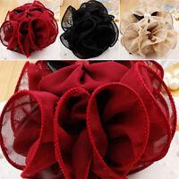 Korean Women Chiffon Rose Flower Bow Bun Jaw Clip Barrette Hair Claw Accessories