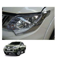 Mitsubishi Pickup L200 Triton 2015 2016 17 fit Head Lamp Light Cover Chrome Trim