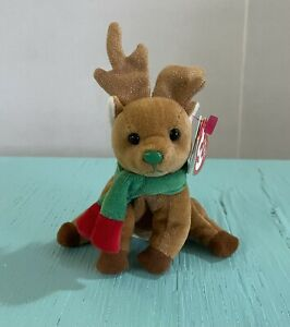 Ty Beanie Babies Jingle Beanies Jingly Reindeer Ornament Christmas Plush W/ Tag
