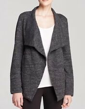 3X $358Eileen Fisher Charcoal Terrazzo StretchRipple STND CLR Drape Front Jacket