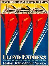 North German Lloyd Express Vintage Oceanliner Travel Advertisement Poster Print