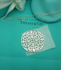 Tiffany & Co Rare XL Huge Silver Enchant 46mm Round Pendant 30 Inches Necklace