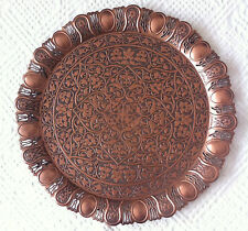 TURKISH ZAMAK TRAY DARK COPPER COLOR, ROUND & WAVY Ottoman Tulip Figures-33 cm